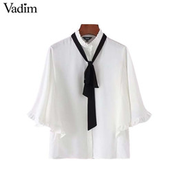 a79ace838b606 Vadim women sweet bow tie ruffles white shirts batwing sleeve ruffled  collar blouse female casual chic tops blusas DT1335