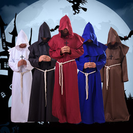 Casacos masculinos on-line-Costume retro Medieval Times Monástica Pure Retro Cor Hoodies Cloak Halloween Cosplay Clothes Fit Homens Mulheres S M L XL 38qd E1