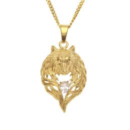 2019 ciondoli personalizzati da uomo Designer in acciaio inossidabile oro occhi di diamante lupo testa ritratto collana a catena pendente Mens Hip Hop Raper personalizzato gioielli regali per gli uomini sconti ciondoli personalizzati da uomo