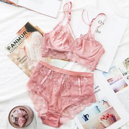 e708bf06db6da TERMEZY Classic Bandage Pink Bra Set Lingerie Push Up Brassiere Lace  Underwear Set Sexy High-Waist Panties For Women 2018