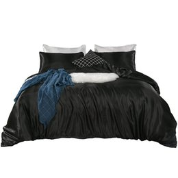 blue modern bedding sets Promo Codes - 3 Pcs   Set Modern Style Artificial Bedding Set Pillowcase Fitted Sheet Duvet Cover