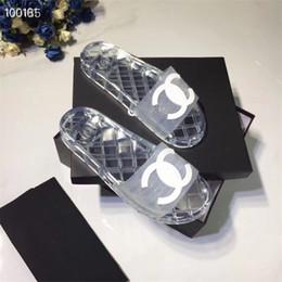 Canada Designer Femmes Clear Slide Hommes Pantoufles Transparentes, 19ss PVC Sandales Pantoufles Transparent Nouveau Cristal Chaussures Féminines Sable Plage Cool Slipper Offre