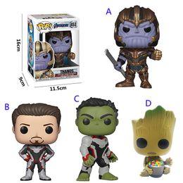 Hulk hombre de hierro vengadores online-Funko pop Avengers: Endgame Figure Doll toys 2019 New kids Avengers 4 Cartoon Thanos Iron man Hulk Groot figura Juguete B