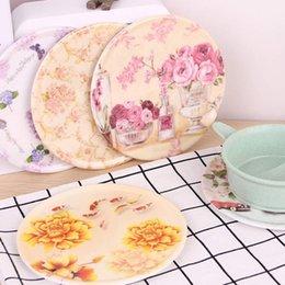 pastillas de melamina Rebajas Bandeja de melamina Café Flor de aislamiento Cluster imitación de porcelana redonda anti-caliente del cojín