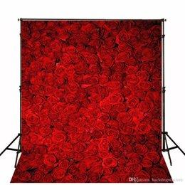 8x8ft foto sullo sfondo Sconti Fondali in 3D per foto di matrimonio con rose rosse stampate con computer