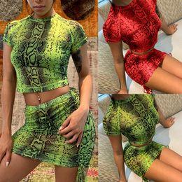 2019 faldas s Moda para mujer de las señoras vestido sexy de serpiente Tops de dos piezas Conjunto de falda Cocktail Clubwear faldas s baratos
