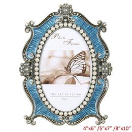 Foto marco perla online-Latón antiguo con mano azul esmaltado y perlas blancas Jeweled 5x7 pulgadas Marco oval mesa de metal de la aleación de imagen Photo