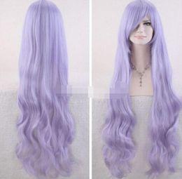 SPEDIZIONE GRATUITA ++ + Parrucca piena di capelli viola lunghi di sintesi di scoppi lunghi sintetici da donna alla moda da