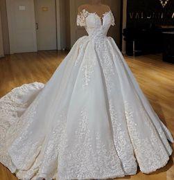2019 zuhair murad de vestido de pelota de hombro Lujo marfil satinado vestido de bola vestidos de novia mangas cortas Sheer cuello encaje apliques boda vestidos de novia occidental país vestidos de boda