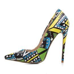Дешевые королевские синие пkers for windows онлайн-Ebullient2019 Sexy Осень Мультфильм Цветок Цвет Sharp Fine с женщинами Одиночники обуви на высоких каблуках