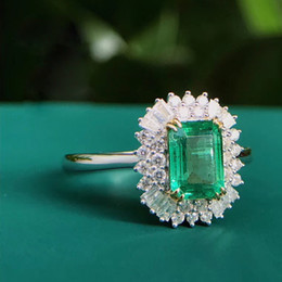 Verde esmeralda anéis diamantes on-line-AEAW Jewelry 18K White Gold 1.0ct Natural Emerald Anel Emerald Cut Verde Gemstone Diamond Ring Mulheres Jóias