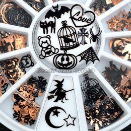 2019 stickers ongles chats Noir Mix Halloween Forme Citrouille Visage Sorcière Araignée Net Chat Noir Chauve-Souris Métallique Nail Art Paillettes Stickers Gem Roue DIY stickers ongles chats pas cher