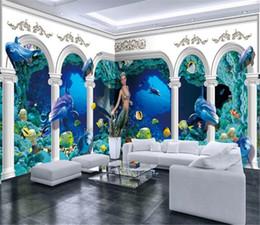Casa de delfines online-Papel tapiz 3D Dormitorio Submarino Mundo Romano Palacio Dolphin House Fondo Decoración de pared Papel de pared