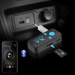 Micrófono receptor online-Kit de coche inalámbrico Bluetooth 4.0 Adaptador 3 en 1 Receptor Bluetooth USB 3.5mm Jack de audio TF Lector de tarjetas MIC Llamada Soporte Para Coche