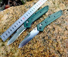 """2019 faca de aço 7cr13mov Benchmade 940 Osborne Folding Knife 3.4 """"S30V Lâmina Plana de Cetim, roxo anodizado espaçador titânio, Alças de Alumínio Verde"""