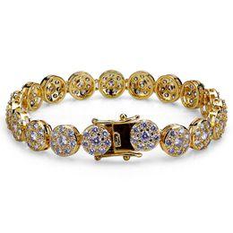 gold-diamant-tennis-armbänder Rabatt Iced Out Ketten Diamant Tennis Armband Herren Hip Hop Schmuck 18k vergoldete Armbänder Mikro gepflastert CZ funkelnden Luxus Armreif Wrist Wrap