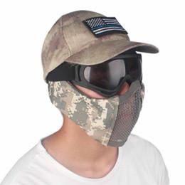 Media máscara de malla de metal online-Tactical Half Face Metal Steel Net Mesh Mask Caza Protectora Guardia Máscara Cubierta para protección media cara malla
