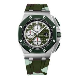 Relógio de luxo para homens de borracha on-line-2019 Novo Relógio de Luxo 26400SO.OO.A055CA.01 Camuflagem Do Exército Verde Dial Rubber Band Chrononograph Quartz Relógios de Pulso Mens Designer Relógios