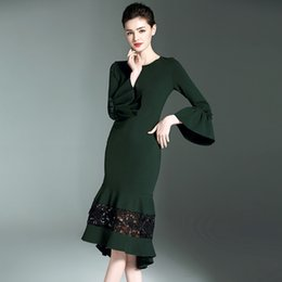 Elegante preto-verde magro fish-tail dress mangas sino envolto com nádegas vestidos casuais reais Imagens saia longa b1709 de