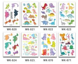 Pegatinas de dinosaurios de dibujos animados online-Divertido dinosaurio pegatinas de tatuaje temporal favores de fiesta bolsas de regalos niños cumpleaños animal de dibujos animados impermeable tatuaje pegatina decoración regalo