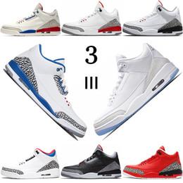 Sneaker di korea online-Scarpe da basket da uomo Scarpe sportive da atletica 3s JTH True Blue Pure White Tinker Grateful Black Cement QS Katrina Corea Scarpe sportive da uomo