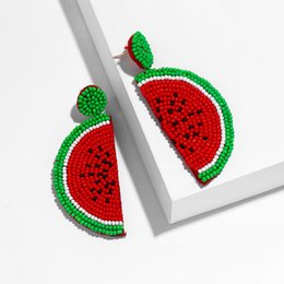 Pastèque perlée en Ligne-Main perles de pastèque perles à la mode fruits Boho perles boucles d'oreilles femmes été Bohème plage bijoux