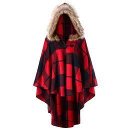 2019 a cuadros rojos tallas grandes Wipalo Plus Size 5XL 4XL Plaid High Low Capa con capucha Moda Mujer Capas con capucha Otoño Invierno Rojo Negro Cape Coat Trench a cuadros rojos tallas grandes baratos