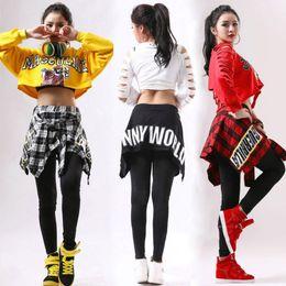 2019 tänzer kostüme für frauen Hip Hop-Kostüm Mädchen Street Dance Kleidung Cheerleader Kostüm Kinder Rave-Ausstattungs-Frauen Dj Ds Dancer Jazz Stage Show tragen DT1069 rabatt tänzer kostüme für frauen