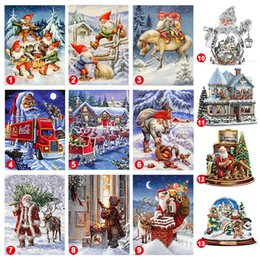 diamond sticker painting Promo Codes - Christmas Needlework DIY Diamond Painting Cross Stitch Full Drill Mosaic Kits Wall Sticker 20x30cm  25*25cm