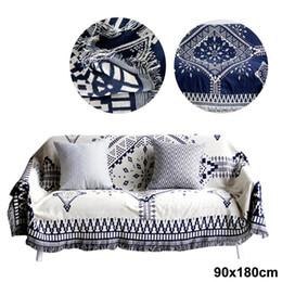 Florale teppiche online-Traditioneller Stil Decke Baumwolle Blumenteppich Quadrat Schwarz und Weiß Startseite Sofa Quaste Bett Wohnzimmer Teppich
