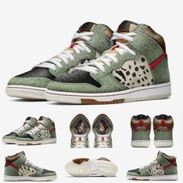 Le misure dei pattini del cane online-Nuovo arriva alta qualità SB Dunk High Dog Walker scarpe da basket per la Mens Nero Verde formatori progettista sport di marca delle scarpe da tennis formato 40-46