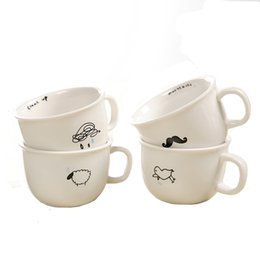 4 stili Piccola tazza di latte di ceramica creativa con animali simpatico cartone animato, tazza di caffè Tazza di tè in porcellana bianca resistente al calore da
