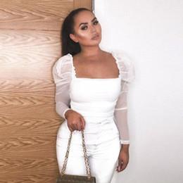 Комбинезон с сетчатой панелью онлайн-Мода Mesh панелей Женской Bodysuits, Sexy Lady и площадь Воротник девушки Ницца Ruched Комбинезоны Rompers, ноутбуки