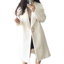 2019 Abrigo de Lana Blanco Blend Mujeres Solapa Larga Parka Chaqueta de  Invierno Estilo Cocoon Elegante Abrigo de Lana Espesar Ropa de Abrigo  Femenina ... ea32948dd20e