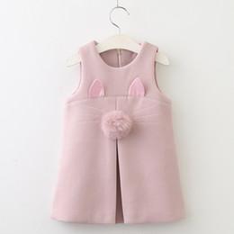 niños lindos camisetas sin mangas Rebajas Bunny oreja linda bebé niñas otoño invierno chaleco sin mangas vestido con bola de piel niños boutique de ropa espesar faldas