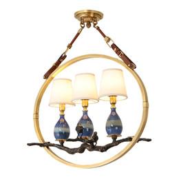 Argentina Lámparas colgantes led de cobre americano vintage pantalla de tela comedor lámpara colgante de cerámica lámparas retro lámparas colgantes accesorios de luces Suministro