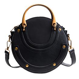 2020 alças de saco redondo Mulheres PU Leather forma redonda Top Handle Shoulder Bolsa Crossbody Bag (Black) alças de saco redondo barato