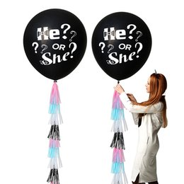 baby boy party decorations Promo Codes - Gender Reveal Balloon Black Reveal Girl or Boy letter Latex Balloon with Confetti Birthday Balloons for Baby Shower Party
