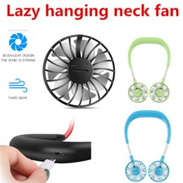 life gear Promo Codes - Lazy hanging neck fan mini fan third gear durable life seven-leaf design wind strong Silent design USB charging outlet 360° lightweight
