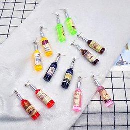 wein rote ohrringe Rabatt Personalisierte Simulation Rotweinflasche baumeln Ohrringe für koreanische Frauen Version Lustige Bar Nachtclub Hip Hop Schmuck Geschenk