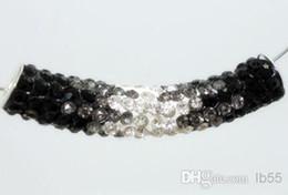 ¡El precio más bajo! Negro envío libre Al por mayor 50 * 10 mm Arcilla larga tubo doblado granos de cristal encantos para la pulsera desde fabricantes