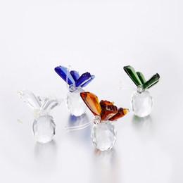 50pcs / lot cristallo animale farfalla artigianato fermacarte di vetro pietre naturali figurine decorazioni ornamenti casa regali di souvenir di nozze da