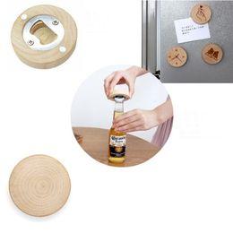 Forma i magneti online-Vuoto fai da te in legno forma rotonda bottiglia di birra apri sottobicchiere frigorifero magnete decorazione apri bottiglia di birra epacket gratuito