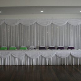 wedding table skirting swag Coupons - 20ft length white ice silk solid table skirt with swag for wedding decoration event party banquet table skirting