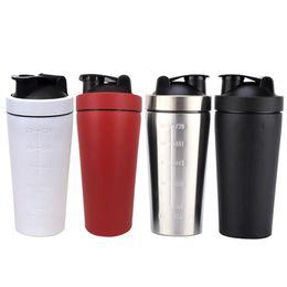 Shaker cups online-Shaker Cups 304 Edelstahl Protein Für Gym Fitness Sports-4 Farben Große Kapazität Milchshake Großer Durchmesser Messbecher DH0573