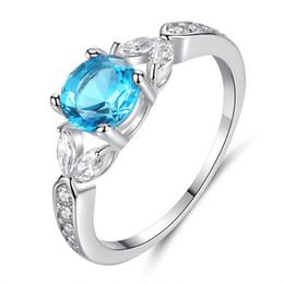 2019 schwarze diamantprinzessin geschnittene ringe Blau Zirkon Verlobungsringe Für Frauen Silber Farbe Hochzeit Ring Weibliche Blume Kristall Trendy Schmuck Braut Zubehör
