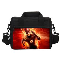 Contenitore per i bambini online-2019 Cool Lunch Bags The Flash Stampa Borsa termica Super Man Piccola Lunch Box per Kids Boys Storage Container