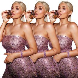 Romper rosa de ouro on-line-2019 new espumante ouro rosa lantejoulas bandage jumpsuit mulheres sexy strapless romper night club festa de aniversário playsuit macacão