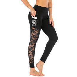 Moda mujer encaje costura media cintura flaco yoga deporte pantalones leggings con bolsillos de teléfono celular pantalones negros para damas 2019 desde fabricantes