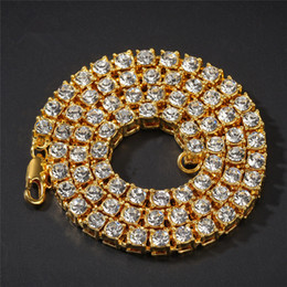 36 inch chains Promo Codes - Hip Hop Bling Tennis Chain Necklace For Men'S Iced Out Chain Width 5mm Rhinestone Link Chains Necklaces 18-36 Inches